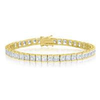 14k Gold Plated Square Princess Cut 4x4mm AAA Cubic Zirconia CZ Tennis Bracelet
