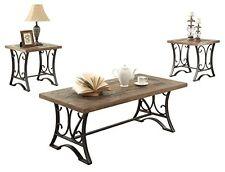 Acme Furniture 81125 Kiele Coffee/End Table Set (3 Pack), Oak and Antique Black