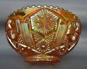 """7545 Imperial STAR & FILE Marigold Carnival Glass 7"""" Round Bowl"""