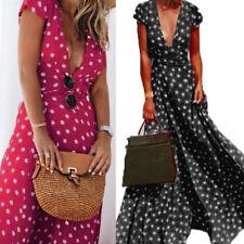 UK 8-24 ZANZEA Women V Neck Plunge Polka Dot Cocktail Party Long Maxi Boho Dress