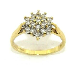 Ladies/womens 18ct 18carat gold ring set with a cluster of diamonds, UK size P