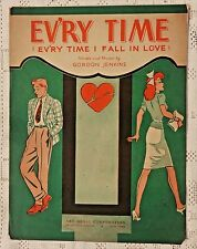 VINTAGE SHEET MUSIC - 1944 EV'RY TIME (EV'RY TIME I FALL IN LOVE) - G. JENKINS