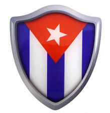 "Cuba Shield Crest Domed Decal 3D enhansed look Emblem Resin car sticker 2.6""x3"""