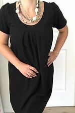 COOPER ST WOMENS DRESS BLACK LINED VISCOSE BLEND MADE IN AU Work Party SZ 12