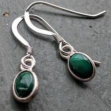 Tiny Malachite 6x4mm Dainty 925 Sterling Silver Stamped hook Earrings Pagan boho