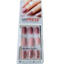 NEW Kiss Nails Impress Press On Manicure Short Gel Matte Mauve Pink Glitter