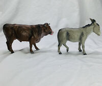PAIR Vintage Marolin Paper Mache Brown Standing Cow, Gray Donkey Nativity Figure