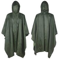 Waterproof Raincoat Army Hooded Ripstop Rain Coat Poncho Military Camping Hiking
