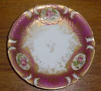"Antique Old Paris Porcelain Plate - Pink Roses - 7"""