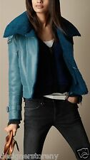 Burberry Brit Blue Oversize Collar Shearling Jacket size 38/4