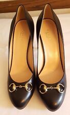 NWoT$695 GUCCI Horsebit Stiletto Heels Pumps Smooth Leather Black GHW 41-1/2