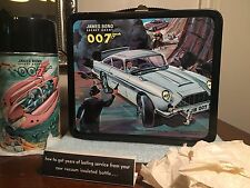 VINTAGE UNUSED RARE  MINT 1966 JAMES BOND 007 LUNCHBOX, THERMOS AND TAGS!
