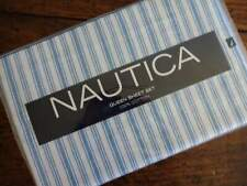Nautica Ocean Blue White Ticking Stripe Cotton Queen Sheet Set 4Pc