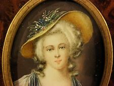French Miniature Portrait Painting of an Aristocrat Lady, Signed