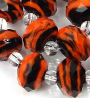 14 Czech glass Faceted Rondelle Beads - Orange black Swirl 12x8mm