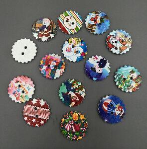 20/50/100pcs Christmas pattern gear Wood Buttons Sewing Mix Lots scrapbook 23MM