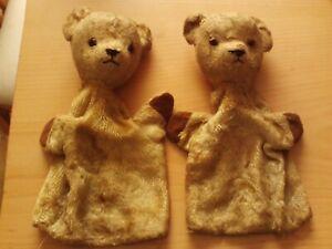 "Vintage X2 Beige / Tan 9 1/2"" Teddy Bear Hand Puppet Toy Mohair Fur & Glass Eyes"