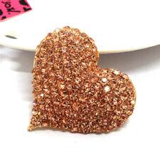 Crystal Charm Brooch Pin Gifts Betsey Johnson Rhinestone Champagne Shiny Heart