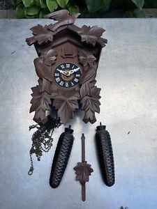 antique Vintage Black Forest Germany Cuckoo Clock Wooden Weights Bird Regula