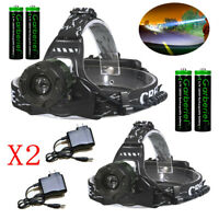 990000LM Zoomable Headlamp T6 LED Headlight Flashlight +Charger+Battery US