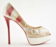 8cd90b299be Christian Louboutin Fetish Peep 130 Beige Loubi Kraft Platform Heel Pump  40.5
