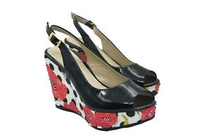 LucyToni Summer Wedges Patent Black with Diamante Poppies Peep Toe
