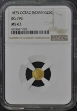 1873 OCTAG INDIAN California Fractional Gold BG-793 G25C NGC MS63