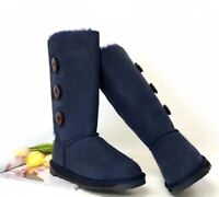 UGG Boots - Classic Tall in 3 buttons, Australian Sheepskin , Non Slip Navy