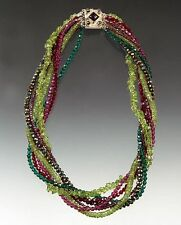 Watermelon Peridot Garnet Twist Necklace Sample Sale - Bess Heitner Spring