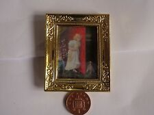 1:12 Scale Golden Framed Picture Of A Child & Her Pet, Dollhouse Miniature