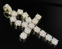 "5.15 CT Diamond Ankh Cross Christmas Pendant Necklace 18k Yellow Gold Finish 3"""
