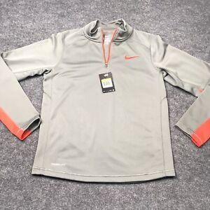 Nike Therma-Fit Training Pullover Mens Small Dri-Fit Tech 1/4 Zip Gray Orange