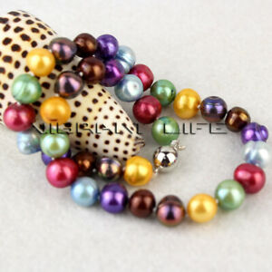 """18"""" 10-12mm Multi Color Freshwater Pearl Necklace Strand Jewelry UE"""