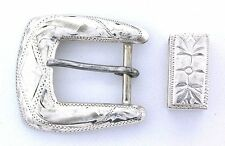 Vintage Pure Sterling Silver Ladies Engraved Belt Buckle Set Ebs2337Oth