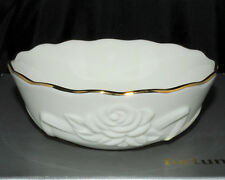 "Lenox Bowl Embossed Rose Blossom Pattern 5 1/2"" Across Gold Trim New No Box"