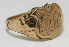 100% Genuine Antique 9K Solid Yellow Gold Shield Signet Ring Sz 8