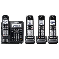 Panasonic Cordless Phone System w/ 4 Handsets & Digital Answering Machine, Black