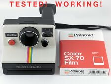 Vintage Polaroid SX-70 OneStep White Rainbow Stripe Instant Camera & Film TESTED