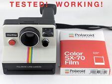 Vintage Polaroid SX-70 OneStep White Rainbow Stripe Instant Camera & Film TESTED