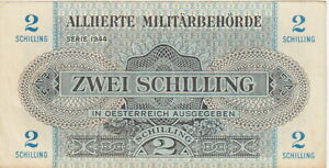 "Austria ""Allied Military Occupation""2 Shilling Note,1944 Extra Fine Cond,P#104-A"