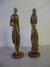 Syroco Wood Statues Set Figurines Gold Tone Rare Vintag Fine Details 16 1/2 Tall