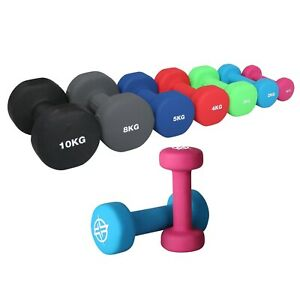 Dumbbells Pair In Neoprene 1-10kg Weights Fitness Lifting Set Gym Workout