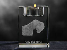 Kerry Blue Terrier, crystal candlestick with dog, souvenir, Crystal Animals Usa