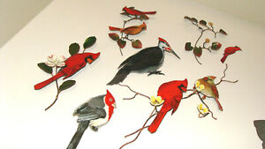 Lot of 6 Bovano of Cheshire Bird Wall Hanging Sculptures Copper and Enamel