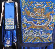 Antique Chinese Blue Silk Gold Embroidered Dragon Phoenix Wedding Skirt Dress