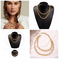 NEW Fashion Women Gold Plated Thick Bib Statement Chain Pendant Necklace Jewelry