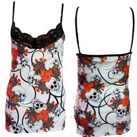 STRAPPY VEST TOP WHITE RED PURPLE ROSES & SKULLS  GOTHIC ALTERNATIVE SIZE 8-10