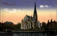 Stuttgart Color Ansichtskarte 1917 gelaufen Johanneskirche Kirche mit Feuersee