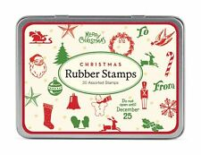 Cavallini - Tin of Rubber Stamps - Christmas - Set of 20 Mini Stamps