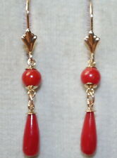 VINTAGE 14K  40MM UNDYED OX RED ITALIAN CORAL TEAR DROP LEVER BACK EARRINGS